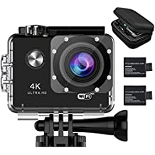 YDI M70 Camara Deportiva 4K Wifi Cámara de Acción Ultra HD 1080P Amplio Ángulo de Visión 170 Videocámara, 2 Baterías, Funda de Transporte y Kits de Accesorios