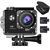 YDI M70 Caméra Sport WIFI 4K Caméra d'Action Ultra HD 170° Grand Angle Action Cam Etanche 30M avec 2 Batteries + Paquet Portable