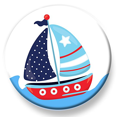 Piraten Ziel Kostüm - Polarkind Button Pin maritimer Anstecker Segelboot 38mm Handmade