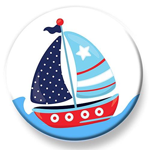 Polarkind Button Pin maritimer Anstecker Segelboot 38mm Handmade