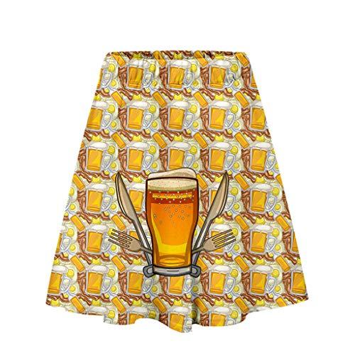 Fannyfuny Rock Damen 3D Gedruckt Rock Skirt Oktoberfest Kostüm Casual Elegant Ballkleid Cocktail Kleider Party Kleider Sexy A-Linie Rock Mini Kleider Gelb,Orange,Schwarz,Grau,Weiß,Gold, S/M/L/XL/XXL