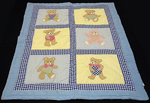 Childs Patchwork Applique Teddy Bear OK Baby Quilt Blanket Q30