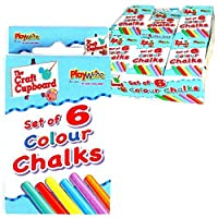 The Home Fusion Company 2 x 6 Pack Coloured Chalk Anti Dust Art Craft