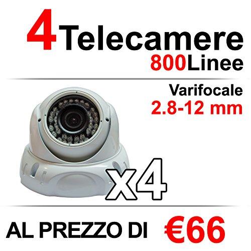 4 Telecamere Videosorveglianza Dome 800 Linee (TVL)