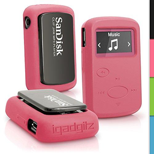 igadgitz u3903Handy Silikon für SanDisk Sansa Clip Jam SDMX26–008G (2015) Cover–Pink (Sansa Mp3-player Armband)