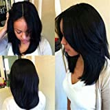 ATOZWIG Short Black Bob Cut Wigs of Natural Hair Short Straight Synthetic Black Wig Heat Resistant Natural Cheap Hair Wig Fashion Style