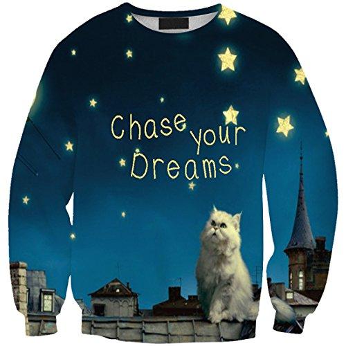Yichun donne da tempo libero t-shirt sottile felpe camicetta stampa pullover maglione casual Cat and Air 22#