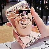 LAPOPNUT Coque iPhone 7 iPhone 8 Miroir Strass Paillettes Clear View Cristal Diamant Fille Femme Etui Housse de Protection avec Anneau Bague de Doigt en Form d'ours 3D Mignon Or Rose