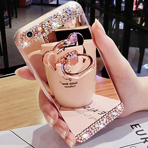 LAPOPNUT Coque iPhone 5 5S Se Miroir Strass Paillettes Clear View Cristal Diamant Fille Femme Etui Housse de Protection avec Anneau Bague de Doigt en Form d'ours 3D Mignon Or Rose