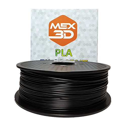 MEX3D PLA-Filament, 1,75 mm, Schwarz, 1 kg Spule/Rolle, Kunststoffmaterial für 3D-Drucker / 3D-Stift, Vakuumverpackt