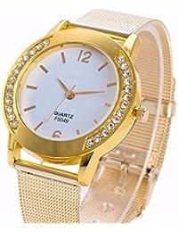 Vovotrade moda lujoso malla de rejilla de las mujeres de cristal de oro de acero inoxidable análogo cuarzo pulsera de reloj (dorado)