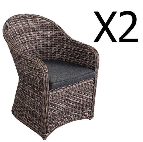 Lot de 2 fauteuils en aluminium et résine tressée, Sépia - Dim : L63 x l74 x H89 cm -PEGANE-