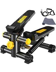 Vinteky Stepper Twister 2 en 1 Mini Stepper avec écran Multifonctions et Cordes Élastiques Poids supporté jusqu'à 100kg