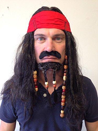 Pirata Peluca cuentas Caribeño Jack Sparrow Pelo