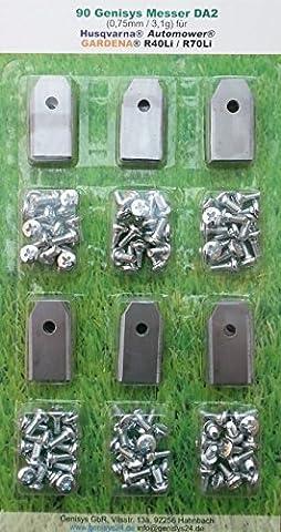 *** 90 Messer (0,75mm / 3,1g) & Schrauben *** für den Husqvarna Automower und Gardena R40Li/R70Li