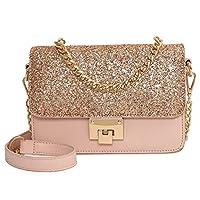 Aszhdfihas Purses and Shoulder Handbags for Women Simple Retro Lock Sequins Chain Straps Square PU Shoulder Bag Messenger Bag, Pink Travel Shoulder
