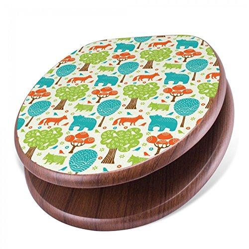 BANJADO Design Toilettensitz mit Absenkautomatik, WC-Sitz Holz, Klodeckel mit Metall Scharnieren, Toilettendeckel mit Motiv Fuchs Bär Wald