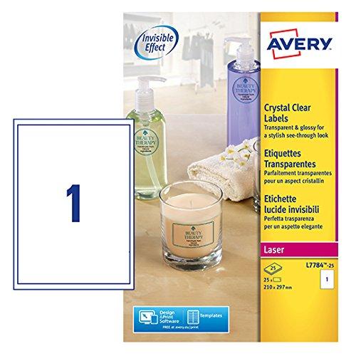 Avery L7784-25 Etichette Lucide Invisibili, 1 Pezzo per Foglio, 25 Fogli, 210 x 297