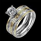 suchadaluckyshop by Lucky 2Titanium Edelstahl Kristall Ringe Hochzeit Set Couple Verlobungsring SZ 6–9 8 Silberfarben/Goldfarben