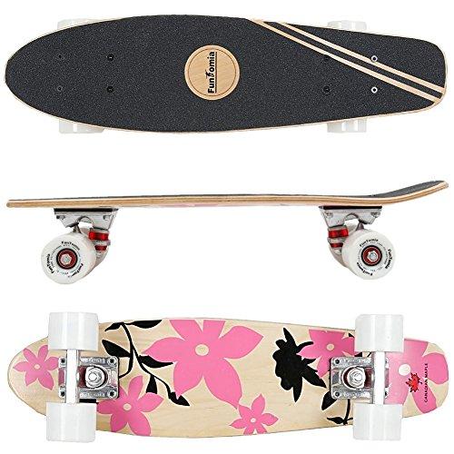 FunTomia® Skateboard Mini Cruiser 57cm - 7ply strati di acero canadese - Con o senza ruote a LED (Fiore rosa - Ruote senza LED)