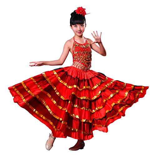 Flamenco Tänzerin Kostüm Mädchen - LOLANTA Mädchen Bauchtanzkleid Spanisches Flamenco-Kostüm, Rock, Oberteil, Kopfblume (360 Grad, 9-12 Jahre)