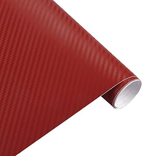 LQY 4,17 * 0,98ft 3D Carbon Fiber Vinyl Auto Wrap Blatt Film Auto Aufkleber und Aufkleber Motorrad Auto Styling Zubehör Autos (Rot) (Blatt Sealer)