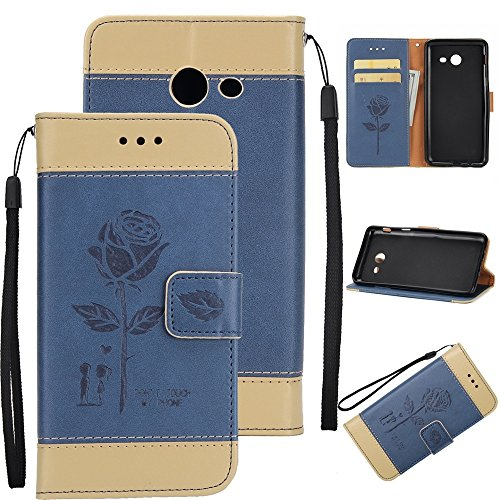 EKINHUI Case Cover Dual Color Matching Premium PU Leder Flip Stand Case Cover mit Card Cash Slots und Lanyard für Samsung Galaxy J7 2017 ( Color : Brown ) Blue