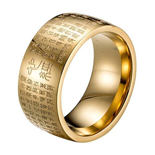 HIJONES Herren Buddhistischen Mantra Herz Sutra 10mm Breite Edelstahl Vergoldet Ring, Siegelschrift Chinesischen Stil Größe 60