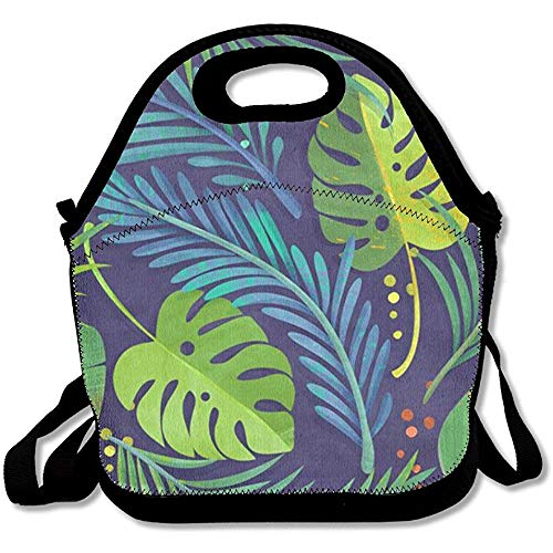 Rain Forest Printing Lunch Bags Insulated Zip Cooler Bag Portable Takeaway Film Pack Cooler Bag Lunch Box Package Picnic Outdoor Travel Fashionable Handbag Pouch Women Men Kids Girls (Insulated Womens Rain)