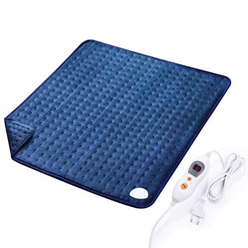 MaxKare Großes Elektrisch Heizkissen (50 x 60cm) Wärmekissen mit Abschaltautomatik und Temperatureinstellung in 6 Stufen Weiche Oberfläche für Rücken Nacken Schulter und Waschmaschinenfestes Gewebe -