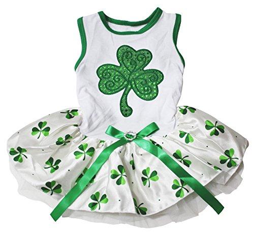 K Tag grün Top mit Pailletten Leaf Clover Weiß Tutu Hund Kleid ()