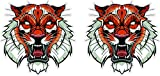 Abstrakter Tiger Kopf Art Aufkleber Sticker + Gratis Schlüsselringanhänger aus Kokosnuss-Schale + Auto Motorrad Helm Laptop Windows Hund Tiere Katze Wolf Tiger Löwe