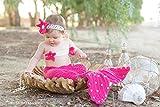 Babymoon Decut Baby Mermaid Bralette, Headband & Bottom Crochet Clothing Swashh (Strawberry Pink)