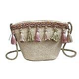 AOLVO Strohtaschen für Damen, Quaste, Umhängetasche, Strohhalm, Schultertasche mit Premium Reißverschluss, Straw Strandtasche für Reisen Khaki