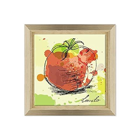 Cadre sur châssis toile canvas––Prêt à accrocher–tomate–Tomato–Graphic Design Cuisine Chef meubles Dimensione: 70x70cm E - Colore Legno Naturale Design