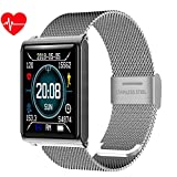 ACZZ Smart Watch, 1.3' Color Screen Ip68 Waterproof Smartwatch Pedometer Heart Rate Blood Pressure Monitor Fitness Smart Bracelet for Android Ios,Silver