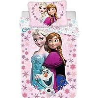 Just1Click Kinder Bettwäsche Set ELSA und Anna 100 x 135 cm, Kissen 40 x 60 cm, Bedruckt mit ELSA und Anna aus der Eiskönigin für Mädchen, 100% Baumwolle
