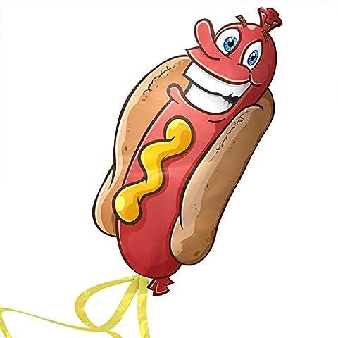aGreatLife Riesiger Hotdog-Drachen: Bester Drachen für Kinder - Startet bei der leichtesten Brise - Sehr langlebig einfacher Flyer - mit Freier String, Spool und eBook - Perfekt für Beach-Spiele und