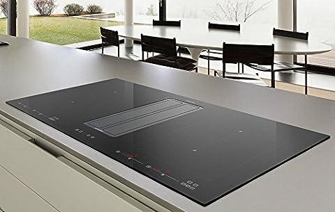 Premium Tischhaube Dunstabzugshaube+ Umluftset mit FLEX Induktionskochfeld /9 Leistungsstufen + Booster (Powerstufe)/ KOMPAK ONE IX-BLACK 820 / 86 cm / 100% made in Italy
