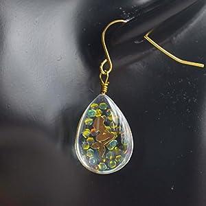 Ein Paar Meerjungfrau Bling Bling Wasser Tropfen Glas Doppel Seitig Vergoldet Ohrhänger
