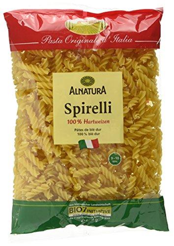 Alnatura Bio Nudeln Spirelli 100{8296fe1809c5d953a7ffbb153f83210dfba79c8490b89fafa46276ae450c3a71} Hartweizen, 500 g