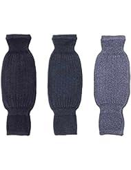 Transpirable lana de cachemira Invierno–Rodillera unisex verdicken elástico Rodillera–Rodillera para rodillas bajo sujetalibros–Vigilan envolver Rodillera Mangas Negro