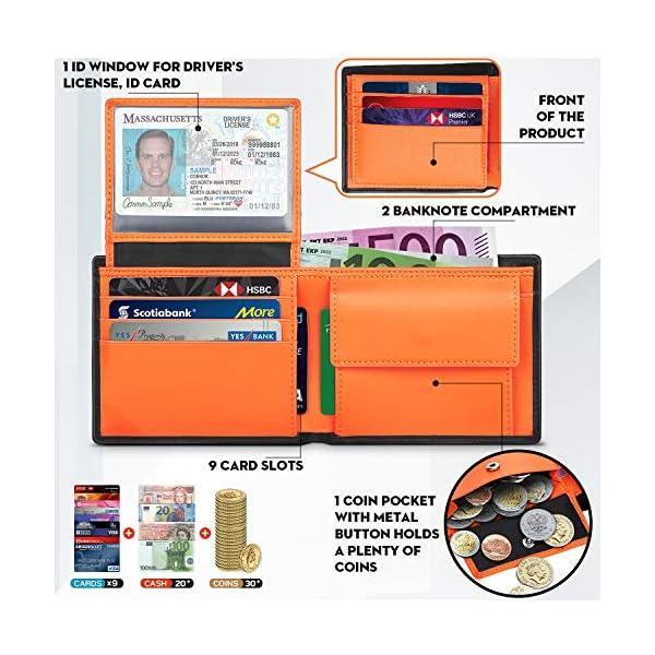 TEEHON® Portafoglio Uomo Slim Vera Pelle Blocco RFID, con Tasca Portamonete, 2 Scomparti Banconote, 8 Porta Carte di… 4 spesavip
