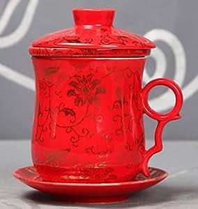 ufengke® rouge céramique chinois Fleur Tasse à thé avec couvercle et Filtre et soucoupe