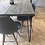 Hahaemall Stahlbeine für einen Holztisch, 3Stangen, 41–86cm, 4 Stück, ohne das Holzbrett – moderner Tisch im Industrie-Look, Stil: Mitte des Jahrhunderts,