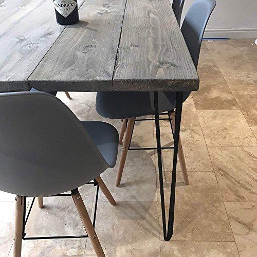 hahaemall Industrie Look modernes Mid Century New Style 3Rod 41cm-86cm Haarspange Metall Holz Tisch Stahl Beine Set von 4PCS ohne das Holzbrett (Pub-tische Und Stühle-sets)
