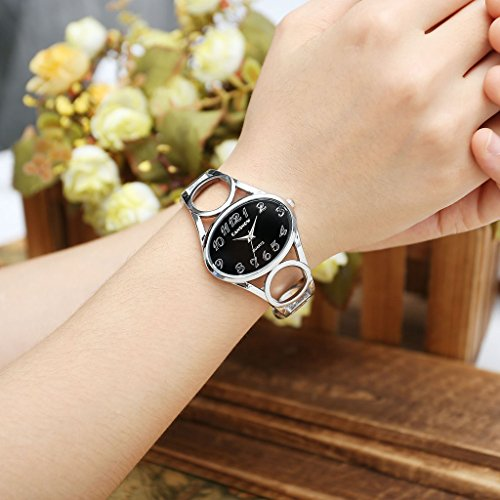 JSDDE Uhren,Damen Armbanduhr Chic Manschette Damenuhr Oval Spangenuhr Frau Analog Quarz Uhr Armbanduhr,Schwarz-Silber - 3