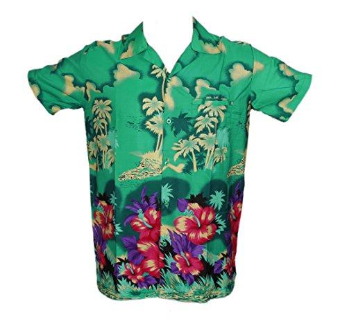 SAITARK Herren Freizeit-Hemd, Geblümt Mehrfarbig Mehrfarbig Mehrfarbig - Grün