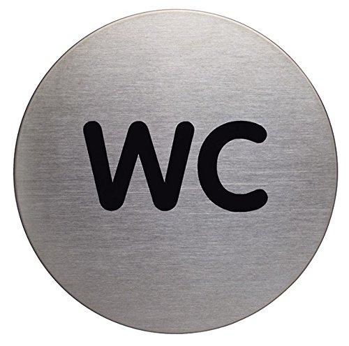 Durable 490723 Türschild Picto rund (WC, 83 mm) metallic silber
