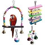 Seatecks 4Pcs Juguetes de loros Jaula de mascotas Juguete Columpio de pájaros Juguetes para roer con bola de campana para Conures Loros Luchas Guacamayas